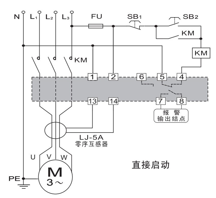 电动机综合保护器接线图?图片