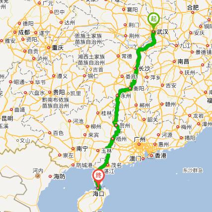 武汉到三亚自驾游路线