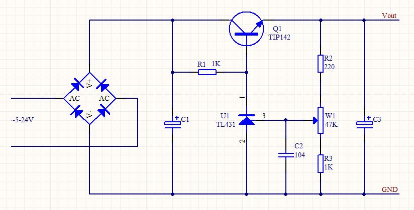 简单易制的直流稳压电源电路图片