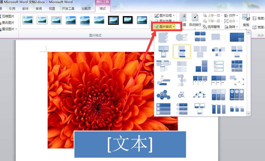 word2010中图片和文字如何组合图片