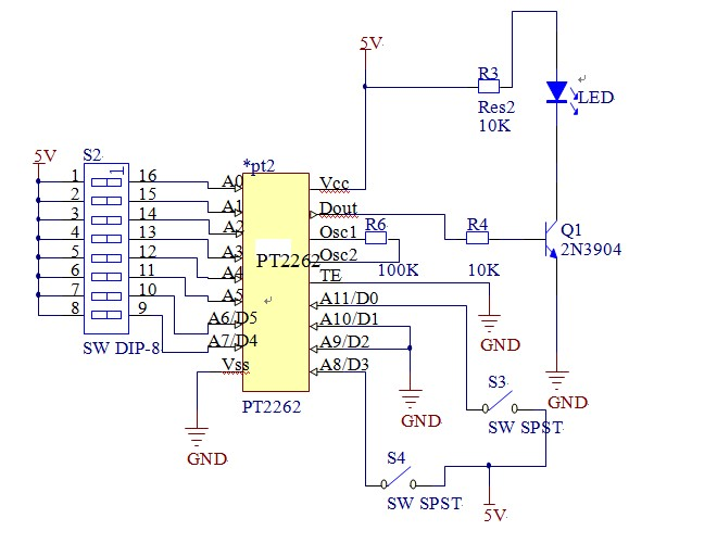 谁有与pt2262发射电路配套的pt2272接收模块原理图 不图片