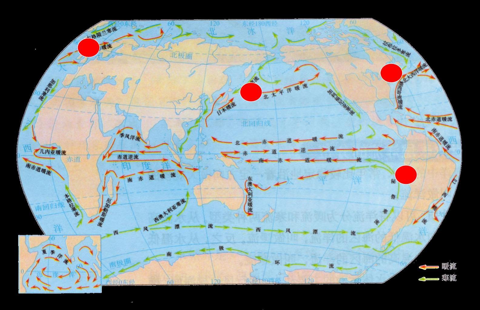 图为三个海区洋流分布示意图,读图完成22-23题.22.图示洋流中( )23.图片