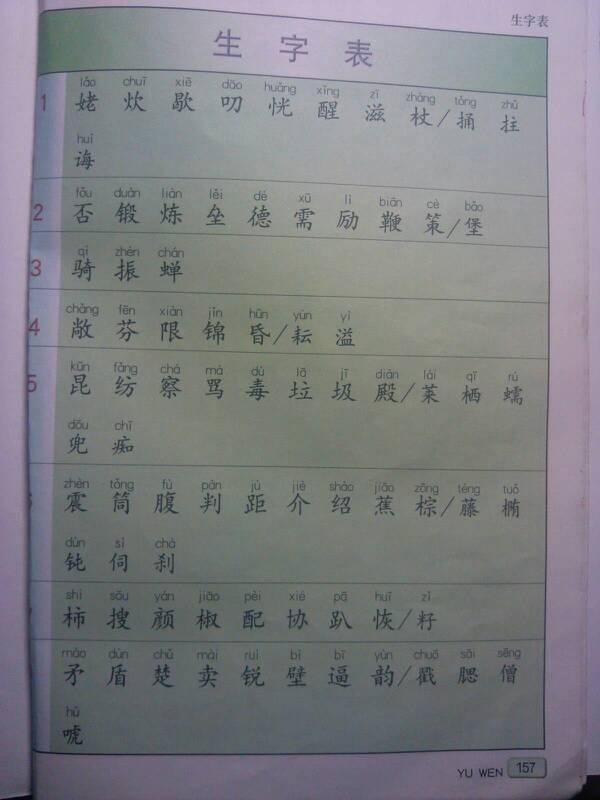 北师大版语文五年级上册生字表图片