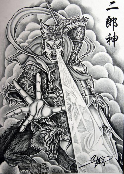 二郎神纹身壁纸手稿图分享展示图片
