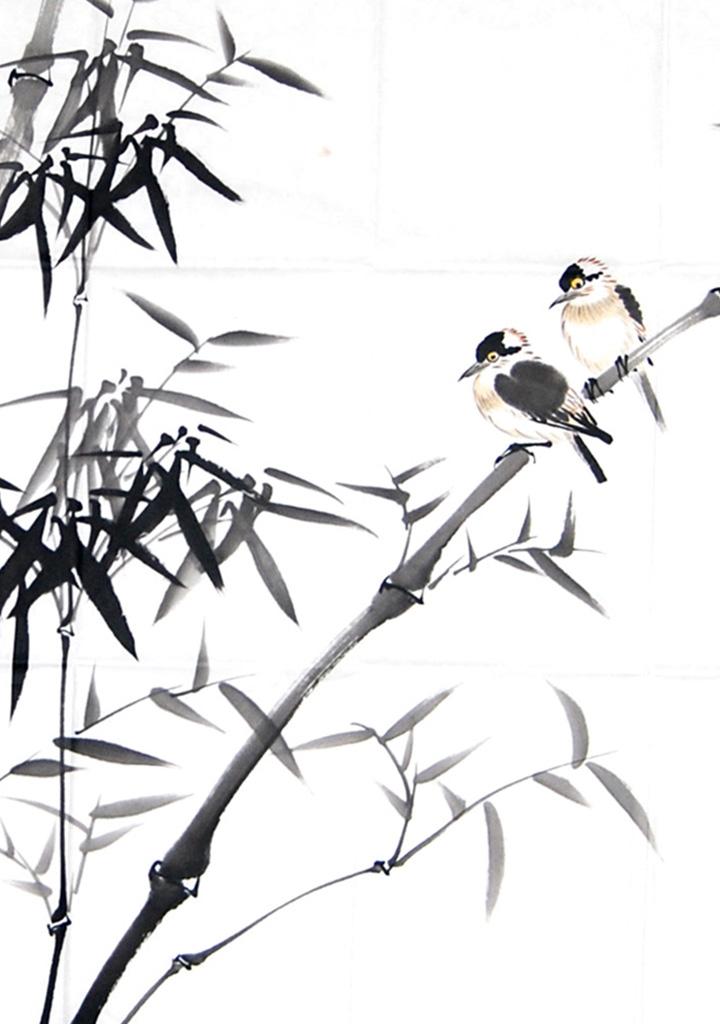 国画竹子,小鸟图寓意图片