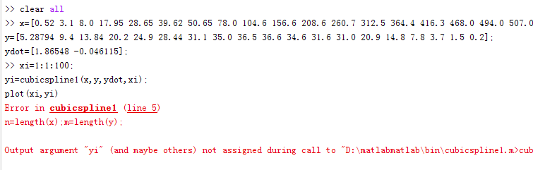 matlab minimum and f and fabulously others not output during call to
