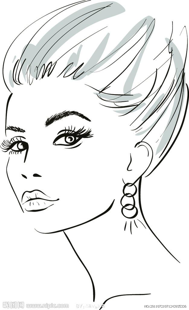 素描美女 手绘美女 女性脸部;
