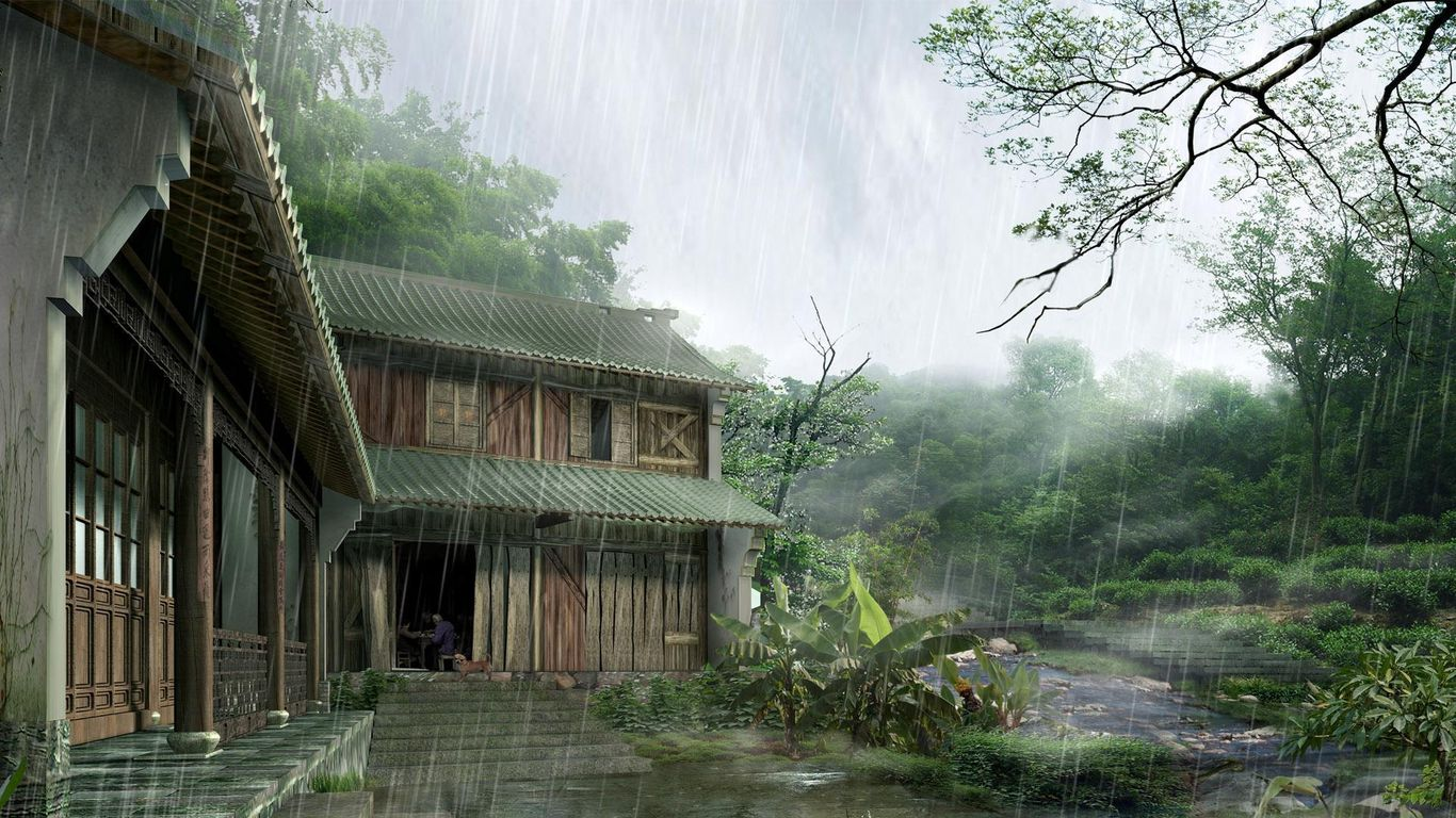 之前看过的,也是写实感觉的2d动漫图,是古风的房屋图片
