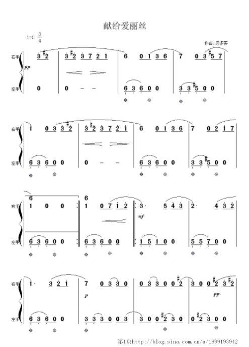 谁有献给爱丽丝钢琴曲的数字版简谱图片?数字的,左右手都有的