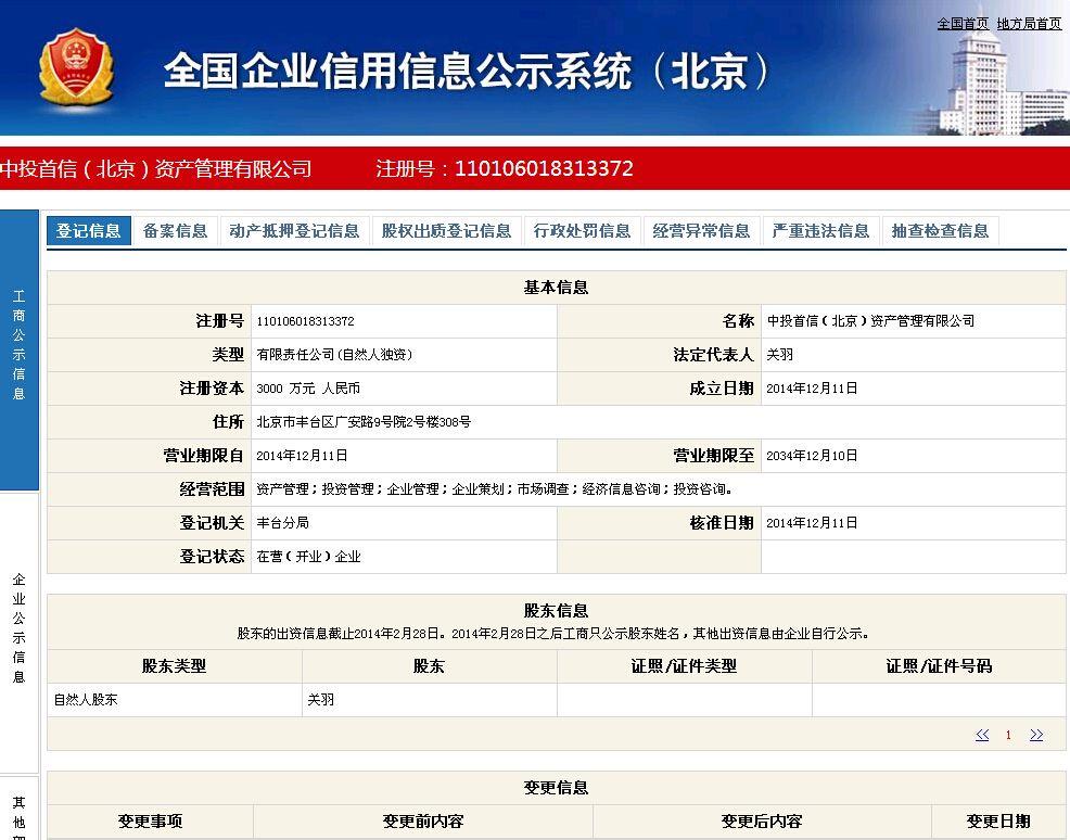 企业信用信息公统华北投信(北京)资