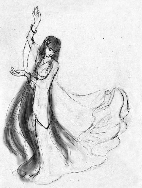求手绘的黑白古装美人图图片