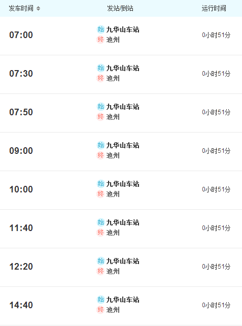 西安到九华山火车