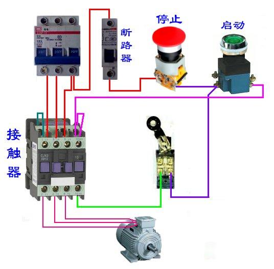 电箱至单联开关后 -----kn是 什么开关 行程开关接线实物图有吗? 双控图片