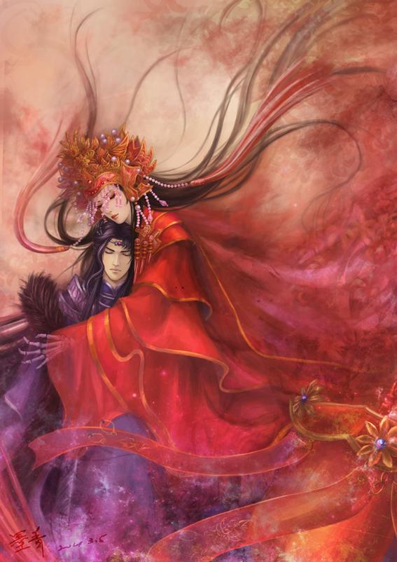 求一张红色古装女子手绘图
