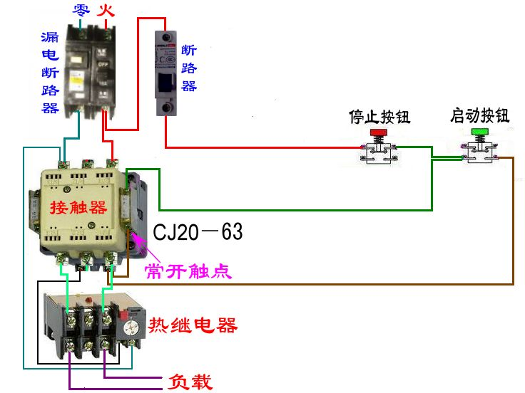 接触器+热继电器保护220v单相水泵电-电动机自锁接线图 自锁电路接