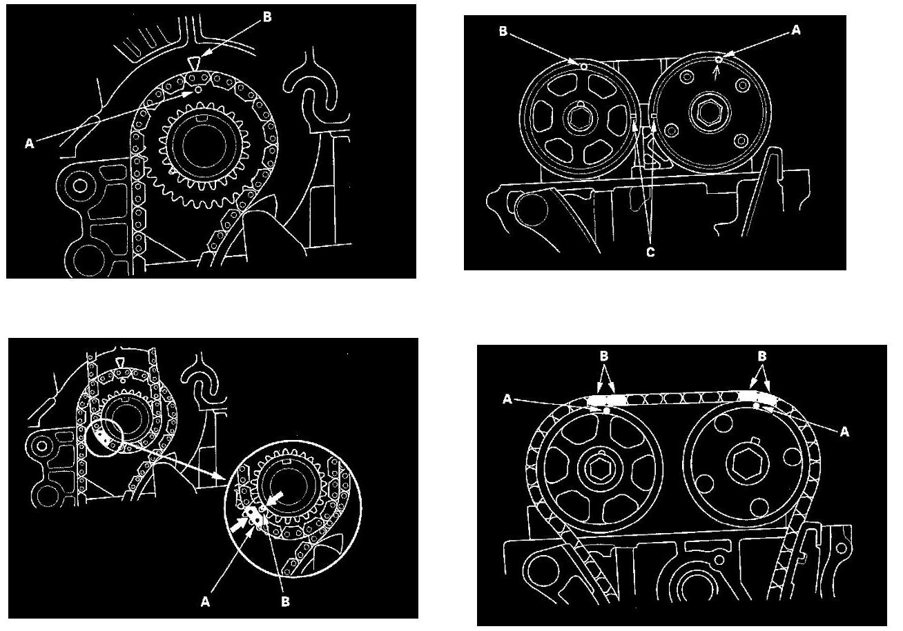 本田奥德赛2.4发动机正时链条安装记号 和机油泵链条记号高清图片