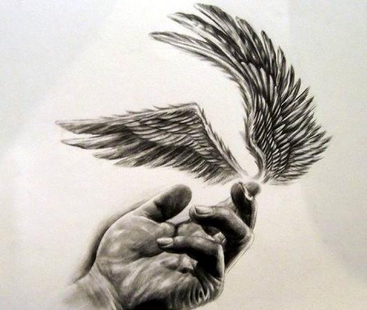 可惜不会上图.简单的说.就是一只手.食指尖上.有一对翅膀.图片