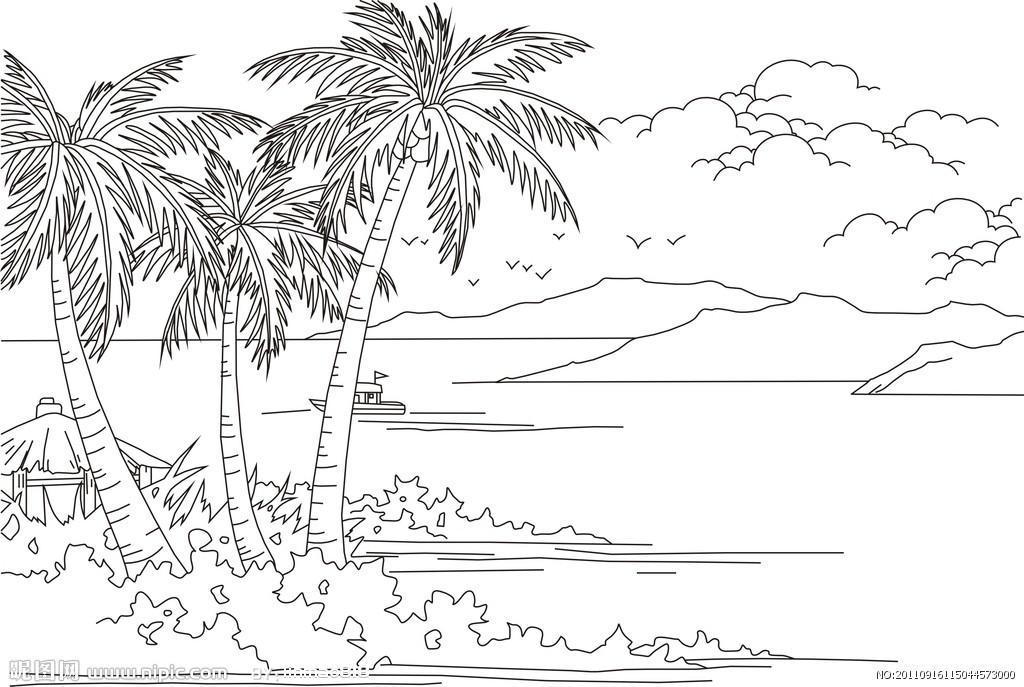 简笔画大海椰子树内容|简笔画大海椰子树版面设计图片