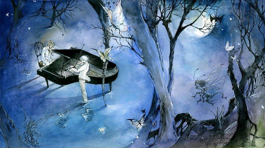 一个人在月下河边,最好古风图图片