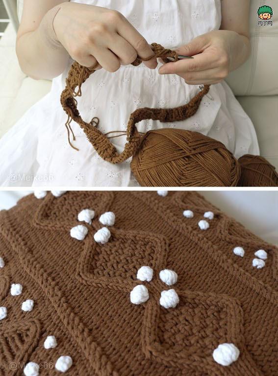 钩针毛线编织坐垫图解高清图片