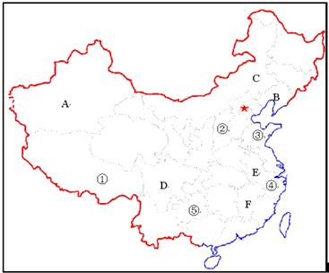 """读""""中国行政区域图"""",回答问题.(1)写出图中字母所代表图片"""