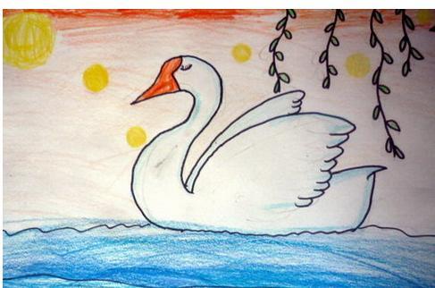儿童怎么画白天鹅图片