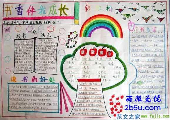 小学生四年级上册书香伴我行的手抄报怎么画的边框怎么画