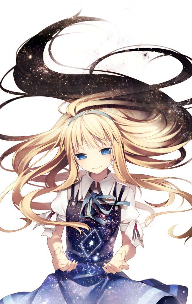 需 求浅亚麻色长发,冰 蓝色眼睛的动漫 少女图图片