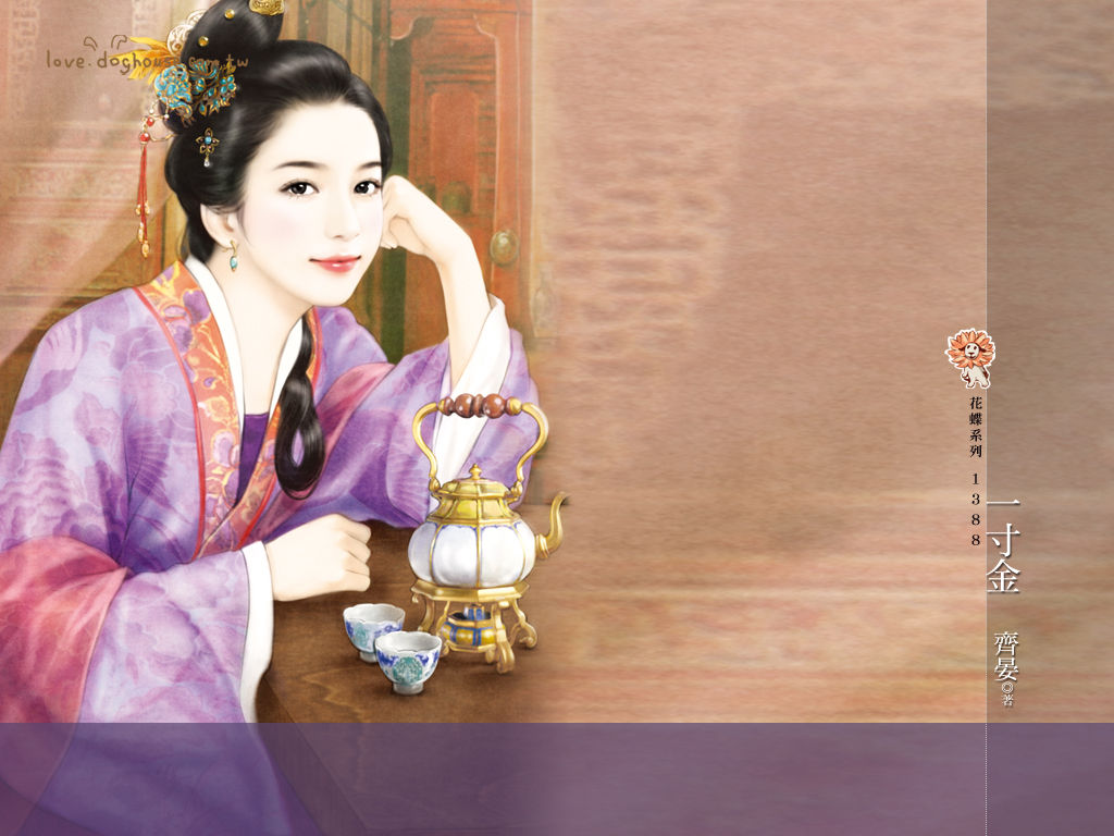 求清朝古装手绘美女图片