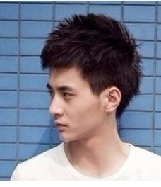请问瘦长脸,小眼睛的男生 适合什么样子的短发!图片