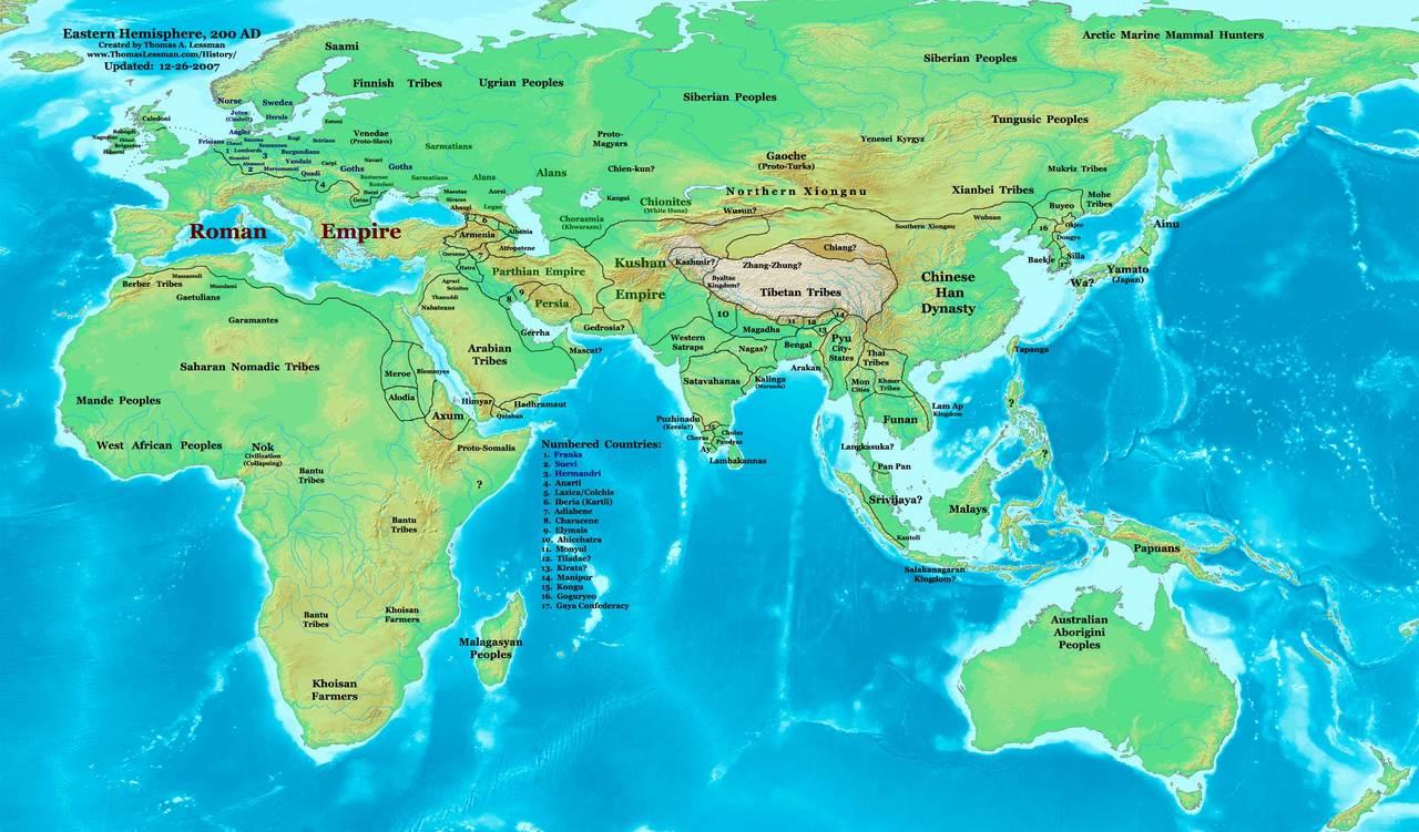 跪求一张三国时期的全世界地图!