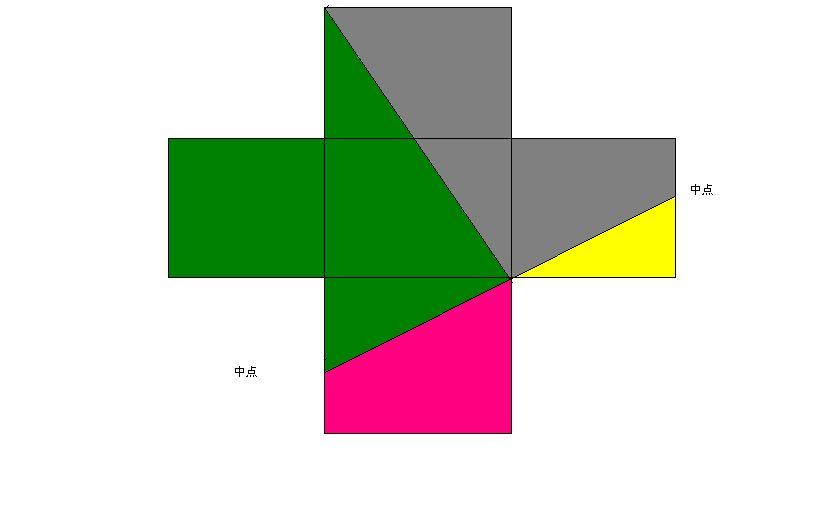 一张十字形的纸,是由五个小正方形组成的.怎样剪两刀图片