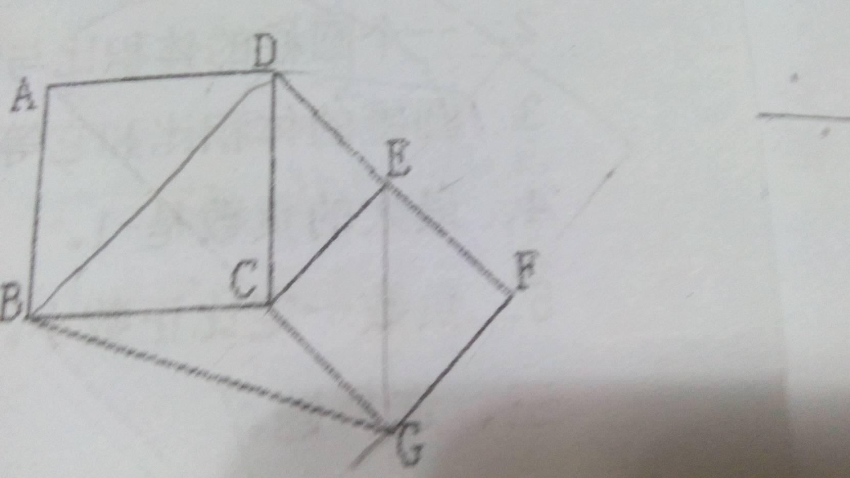 右图为abc与c d e f g为大小两个正方形,三角形bcg的面积为三十平方图片