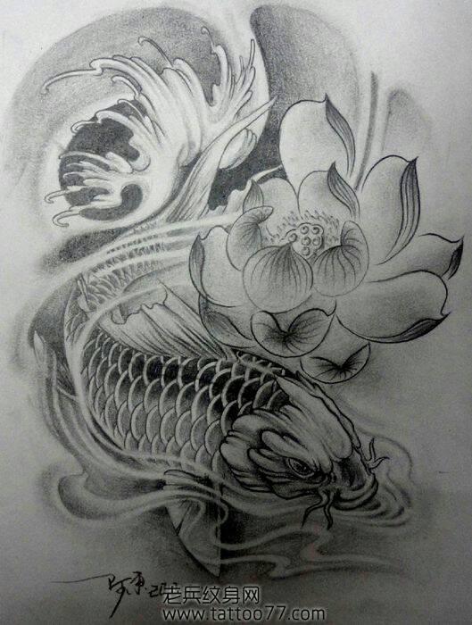 给我几张手臂鲤鱼纹身图 最好是鱼头向下 有莲花 红色图片