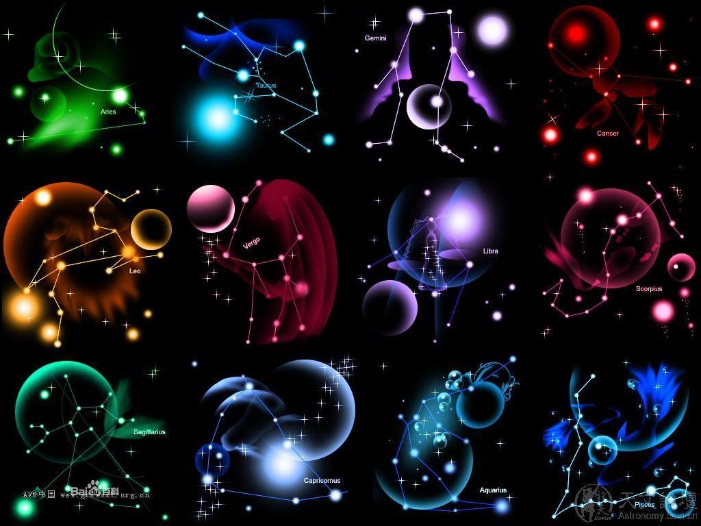 十二星座单个的星空图 , 如果有字要汉字的 , 一定好评.谢谢图片