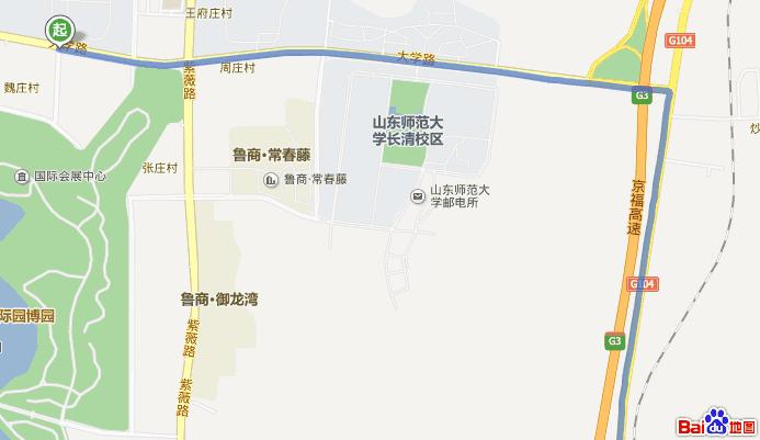 道 济南市 从齐鲁工业大学长清校区 图书馆到五峰山景区骑自行车路线