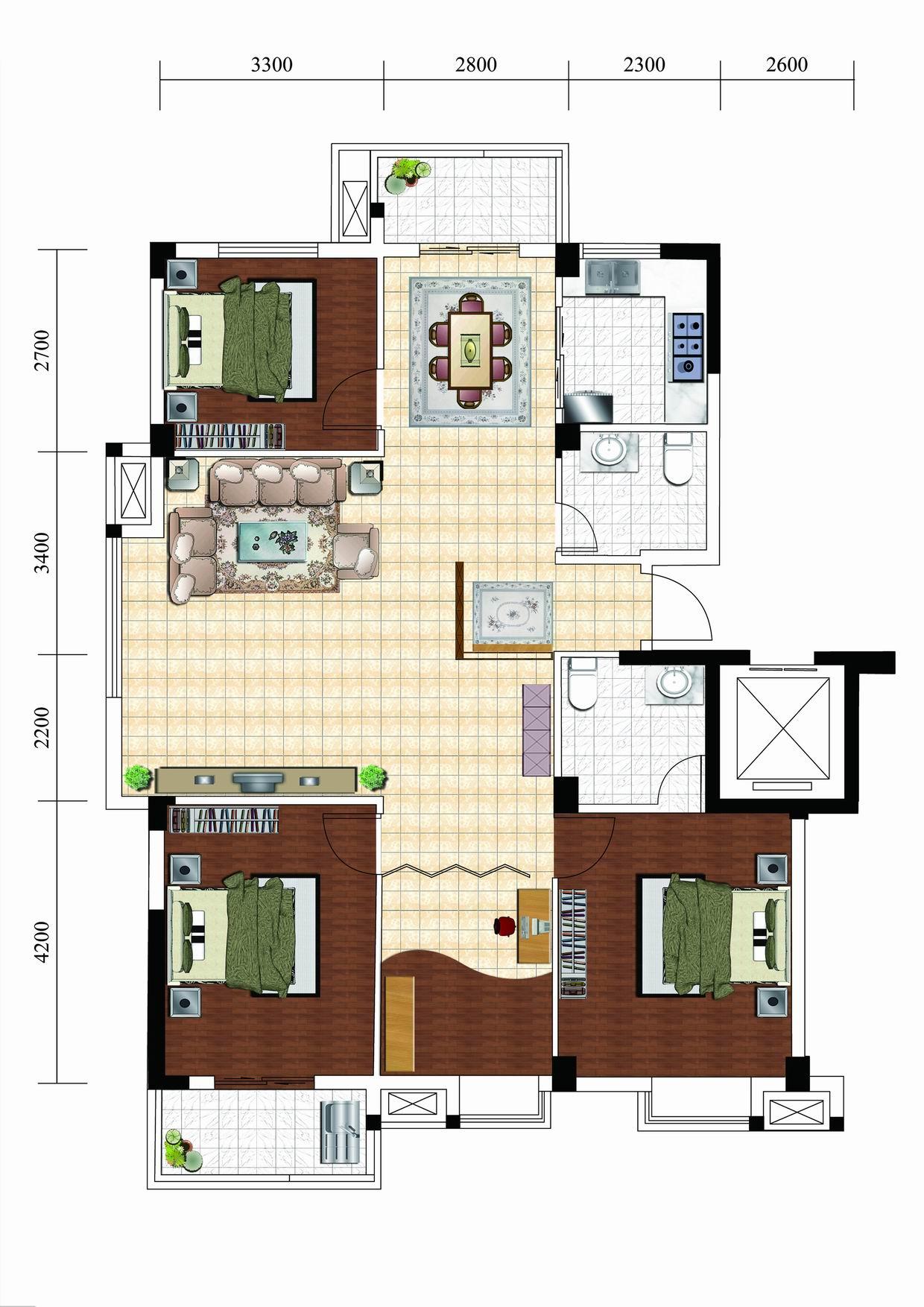 求120平房屋设计图及效果图,附平面图,不含家电装修预算12万.
