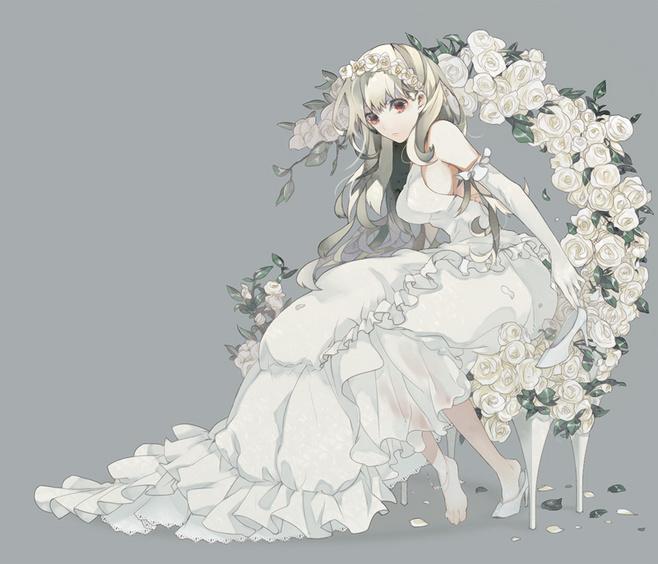 求穿礼服或者婚纱的动漫女孩 百度知道