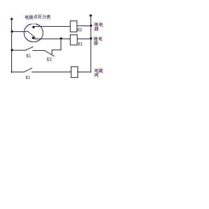 电接点压力表,继电器,电磁阀接线图图片
