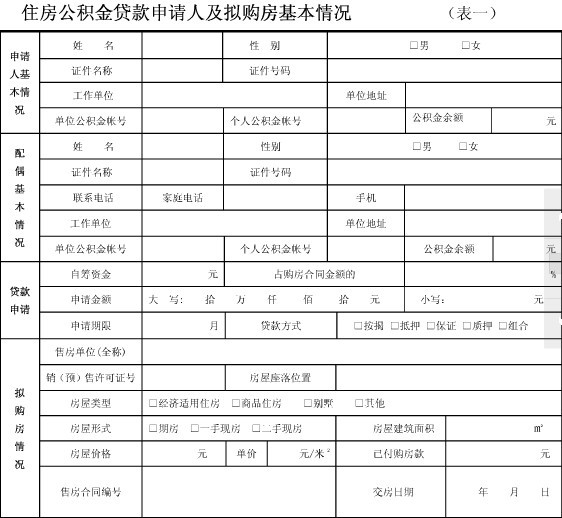上述是公积金贷款申请表,这些项都是必填项目.图片