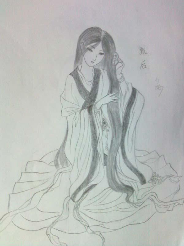 要古代女子的仕女图最好是白描