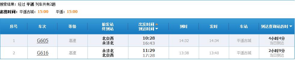 北京到平遥古城的高铁