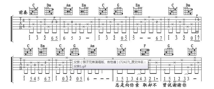 关于筷子兄弟父亲前奏问题图片