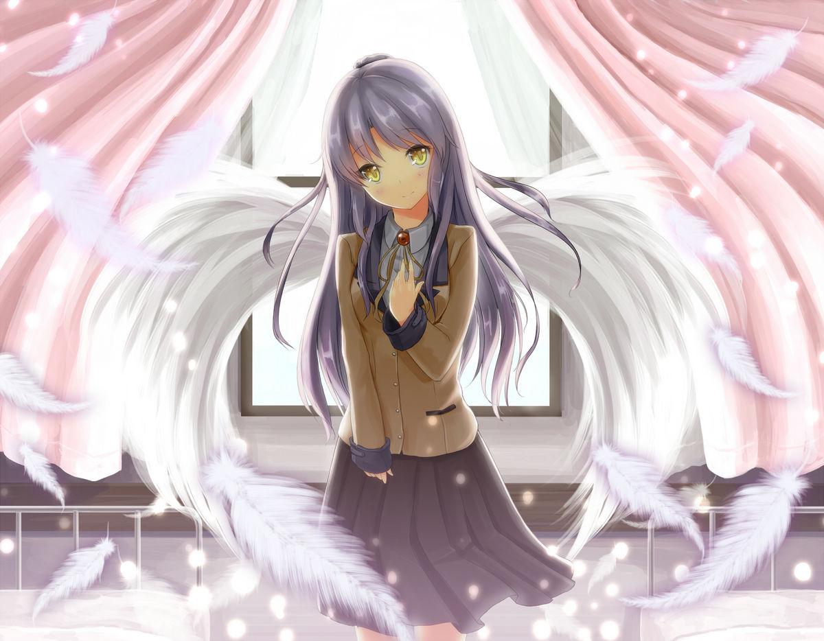 银色头发紫色裙子的动漫女孩