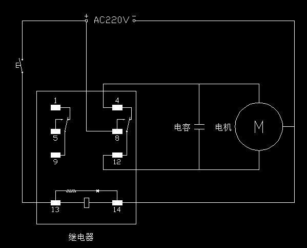 求用一个电磁阀和一个电容来控制电动机的正反转的电路图?图片