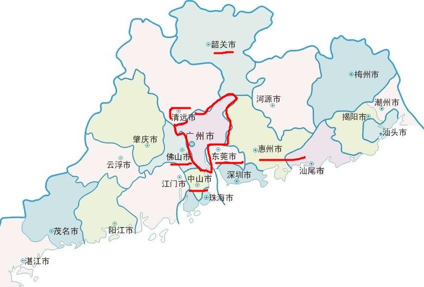 广州周围的城市