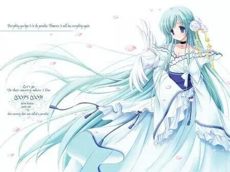 冰蓝色动漫女生图片
