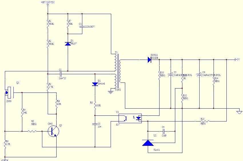 下图就是电脑电源的辅助电源电路,具体的工作原理是什么?图片