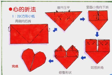 谁能告诉我怎样折心形信纸(带图解)