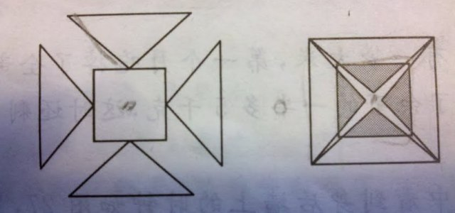 如图,有一个正方形和四个钝角等腰三角形,四个等腰三角形同时以同样的图片